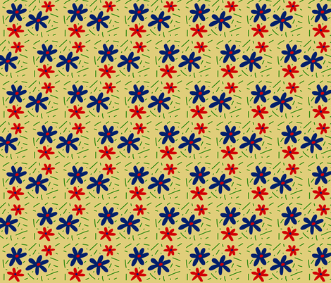 Blue and Orange Abstract Flowers on Yellow fabric by pmegio on Spoonflower - custom fabric