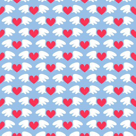 Winged hearts (blue) fabric by petitspixels on Spoonflower - custom fabric
