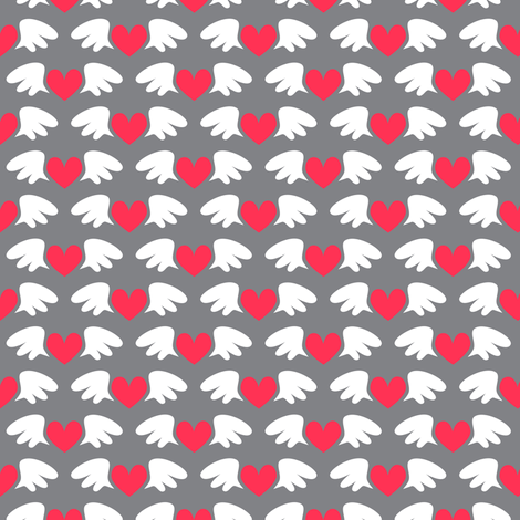 Winged hearts (grey) fabric by petitspixels on Spoonflower - custom fabric