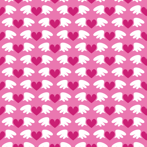 Winged hearts (pink) fabric by petitspixels on Spoonflower - custom fabric