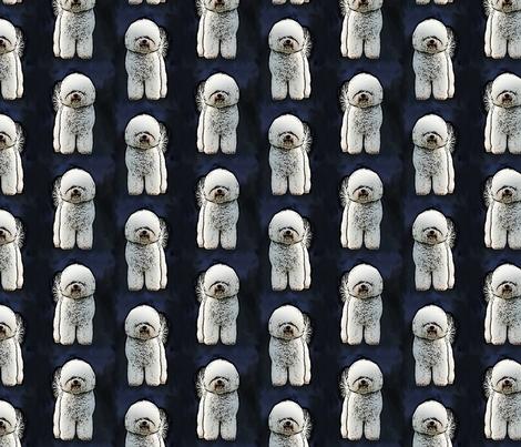 Posing Bichon Frise - blue fabric by rusticcorgi on Spoonflower - custom fabric