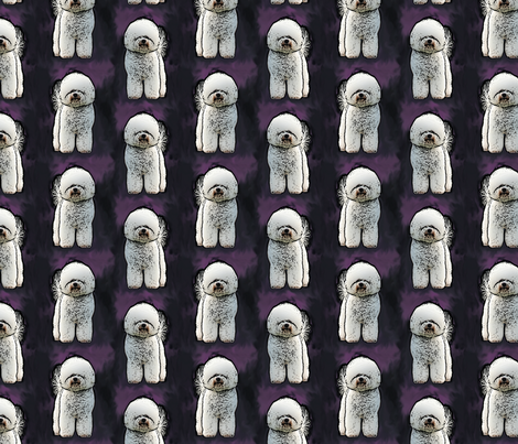 Posing Bichon Frise - purple fabric by rusticcorgi on Spoonflower - custom fabric