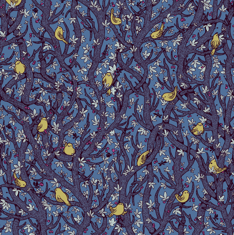 singing_forest_dark_blue_and_yellow fabric by celandine on Spoonflower - custom fabric