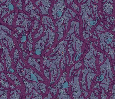 singing_forest_dark_purply fabric by celandine on Spoonflower - custom fabric