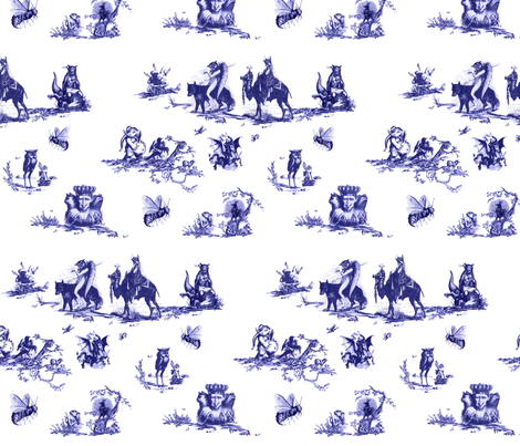 Demonology Toile blue fabric by starlings_law on Spoonflower - custom fabric