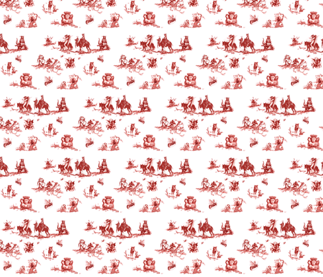 Demonology toile red fabric by starlings_law on Spoonflower - custom fabric