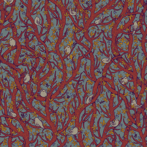 singing_forest_vintage fabric by celandine on Spoonflower - custom fabric