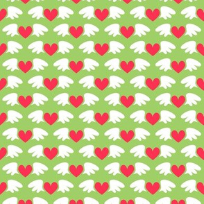 Winged hearts (green)