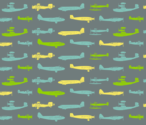 I Dream of Flying 3 - grey fabric by ruthevelyn on Spoonflower - custom fabric