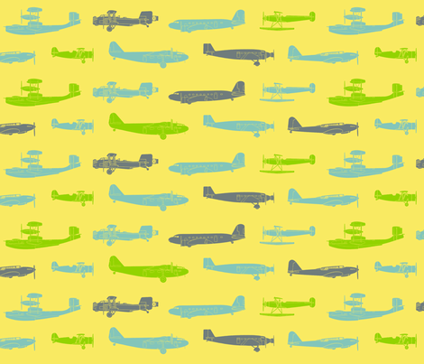 I Dream of Flying 3 - yellow fabric by ruthevelyn on Spoonflower - custom fabric