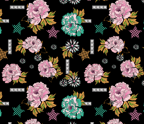 Rocknroll_peonies fabric by vannina on Spoonflower - custom fabric