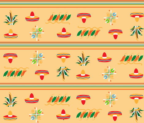 Mexican Hat Stripe fabric by almost_vintage on Spoonflower - custom fabric