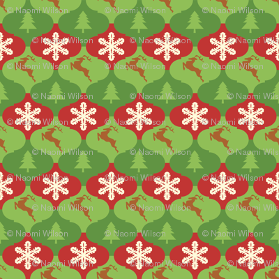 Tessellating Christmas Ornaments With Trees Snowflakes And