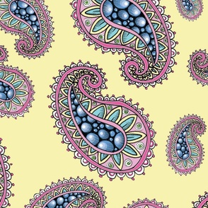 Pink Paisleys on Soft Yellow - Large
