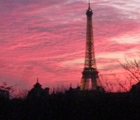 November Sunset with Eiffel Tower 2 fabric by susaninparis on Spoonflower - custom fabric