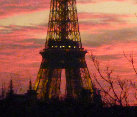 November Sunset with Eiffel Tower 1 fabric by susaninparis on Spoonflower - custom fabric
