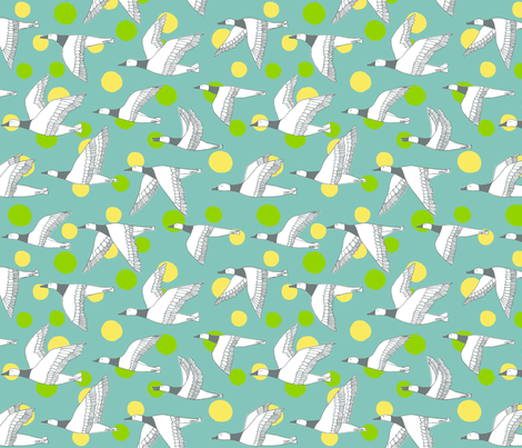 migratory birds - grey, light teal, apple green, pale yellow fabric by gingerme on Spoonflower - custom fabric