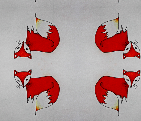 Little red fox fabric by mimi_voke on Spoonflower - custom fabric