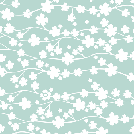 Aqua Blossom fabric by kezia on Spoonflower - custom fabric