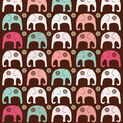 Indian Elephant Parade Red  fabric by kezia on Spoonflower - custom fabric