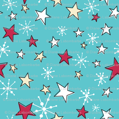 Retro Style Christmas Stars And Snowflakes