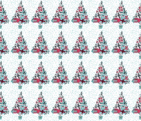 Retro Style Christmas Trees Made of Gifts  fabric by diane555 on Spoonflower - custom fabric