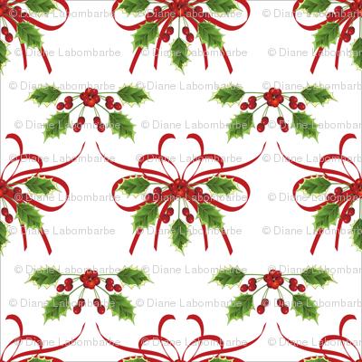 Holly & Ribbons Christmas Pattern