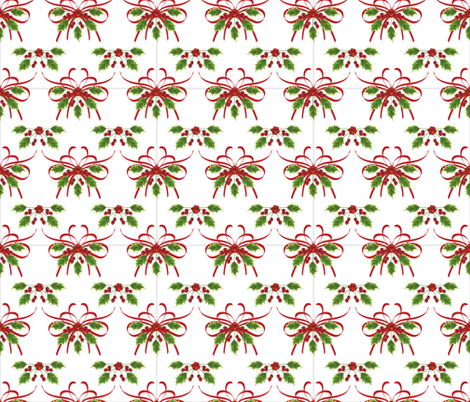 Holly & Ribbons Christmas Pattern  fabric by diane555 on Spoonflower - custom fabric