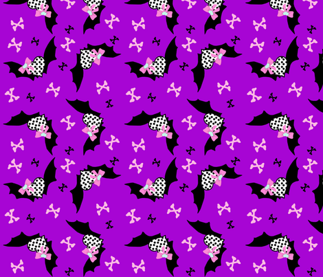 Heart and Bats  fabric by rocking_horse_prints_ on Spoonflower - custom fabric