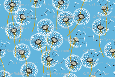 fanciful flight - make a dandelion wish! - sky blue
