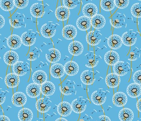 fanciful flight - make a dandelion wish! - sky blue fabric by coggon_(roz_robinson) on Spoonflower - custom fabric