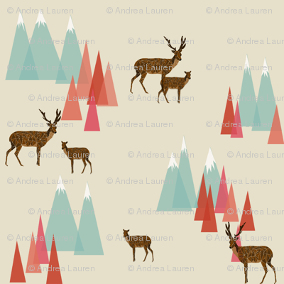 Deer in the Mountains // forest woodland mountain geometric deer woodland