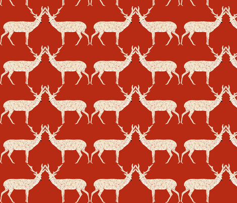 Christmas Deer - Dark Red fabric by andrea_lauren on Spoonflower - custom fabric