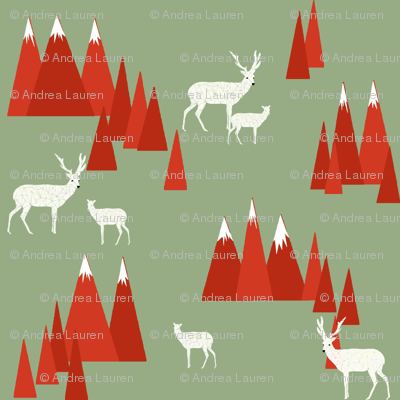 Christmas Deer - Woodland by Andrea Lauren