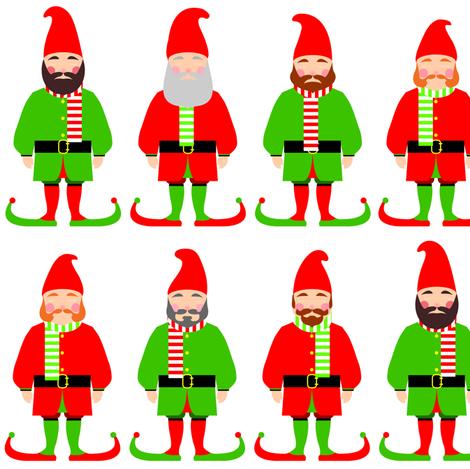 Santa's Christmas elves fabric by barbara_brownie on Spoonflower - custom fabric