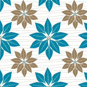 Cute Retro Poinsettia Christmas Pattern