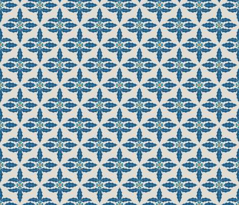 Cute Retro Holly Christmas Pattern in blue and brown fabric by diane555 on Spoonflower - custom fabric