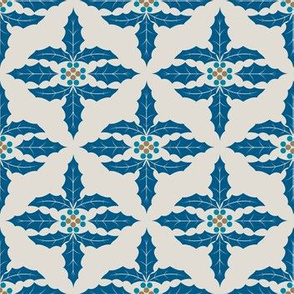 Cute Retro Holly Christmas Pattern in blue and brown