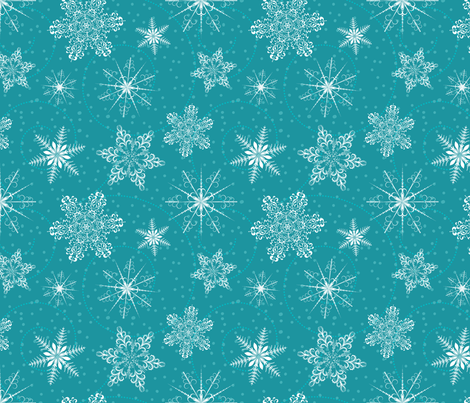 Blue Retro Snowflakes Pattern fabric by diane555 on Spoonflower - custom fabric