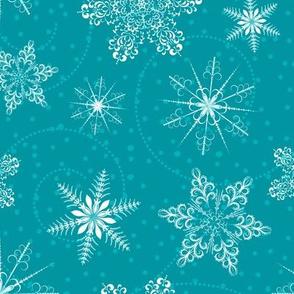Blue Retro Snowflakes Pattern