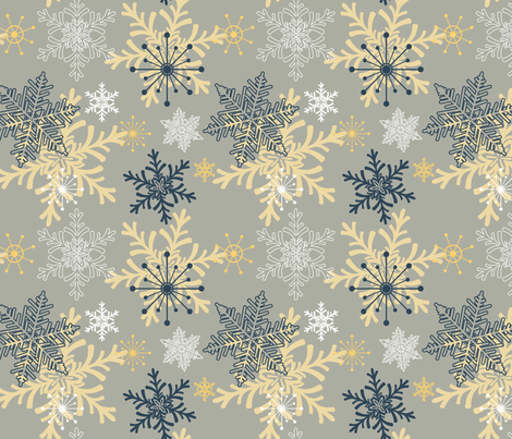 Blue Gold Holiday Snowflakes Pattern fabric by diane555 on Spoonflower - custom fabric