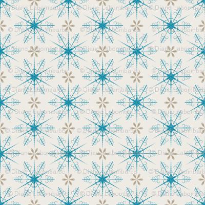 Cute Retro Snowflakes Christmas Pattern