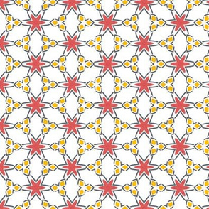 Red, Blue, and Gold-ish Geometric tile (drum04)