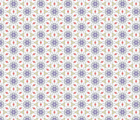 Red, White, Blue, Yellow Geometric tile (drum10) fabric by whimsikate on Spoonflower - custom fabric