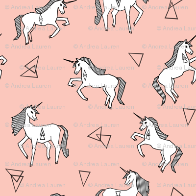 unicorns // small size unicorn cute girls pink pastel girly unicorn fabric