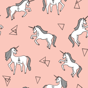 unicorns // small size unicorn cute girls pink pastel girly unicorn fabric