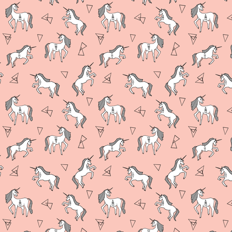 unicorns // small size unicorn cute girls pink pastel girly unicorn fabric fabric by andrea_lauren on Spoonflower - custom fabric