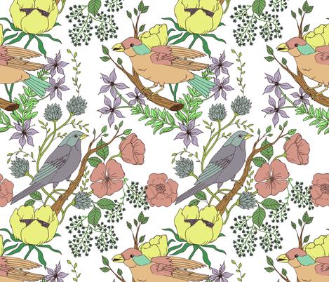 pastel bird garden fabric by michelleadoran on Spoonflower - custom fabric