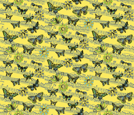 Flight_ofthe_Butterfly_yellow fabric by peppermintpatty on Spoonflower - custom fabric