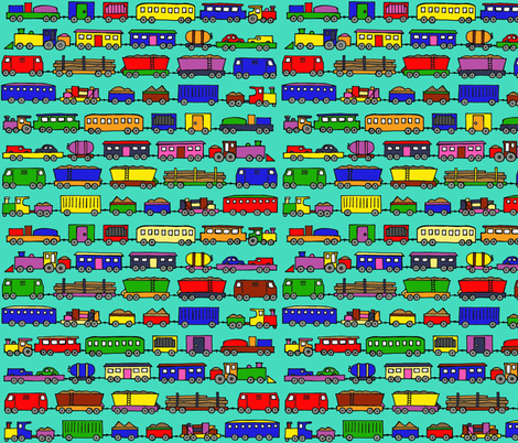 trains coloured in small fabric by littlemissquarter on Spoonflower - custom fabric